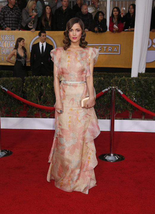 Rose Byrne arrives at the 19th Annual Screen Actors Guild Awards at the Shrine Auditorium in Los Angeles on Sunday Jan. 27, 2013. (Photo by Todd Williamson/Invision for The Hollywood Reporter/AP Image