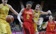 Australia&#39;s Lauren Jackson (15) and Belinda Snell (12) pressure China&#39;s Miao Lijie (8)during a quarterfinal women&#39;s basketball game at the 2012 Summer Olympics, Tuesday, Aug. 7, 2012, in London. (AP Photo/Eric Gay)