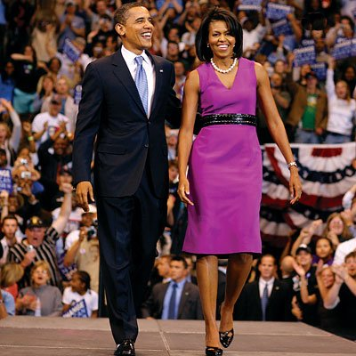 On the campaign trail with her husband, Michelle Obama garnered raves for what would become a signature look: A feminine dress with a wide, almost-tough, waist-defining belt. The dress is by Pinto.