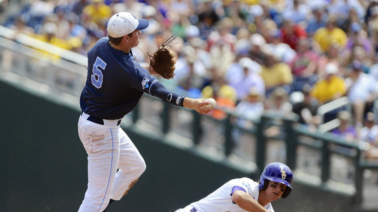 LSU's Mark Laird is out at second base as North Carolina shortstop Michael Russell holds out throwing to first in the inning of an NCAA College World Series elimination game in Omaha, Neb., Tuesday, June 18, 2013. LSU's Alex Bregman reached first base on a fielder's choice. (AP Photo/Eric Francis)