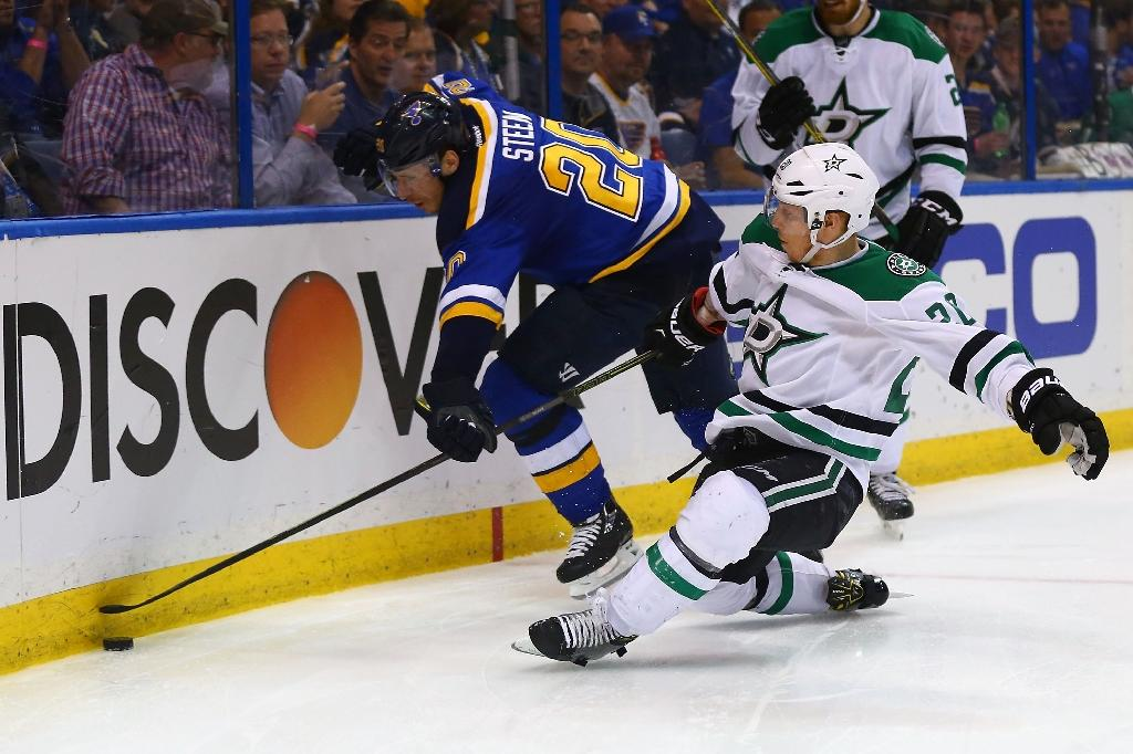 Eakin's OT goal helps Stars even series with Blues