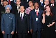 (L-R) Indian Prime Minister Manmohan Singh, China's Premier of the State Council Wen Jiabao, Benin's President Boni Yayi and Argentina's President Cristina Fernandez de Kirchner at the UN Conference on Sustainable Development Rio+20, in Rio de Janeiro, Brazil