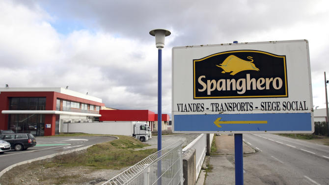 FILE - In this Feb. 11, 2013 file photo, a sign at the entrance of French meat supplier Spanghero in Castelnaudary, southern France. French economy minister Benoit Hamon on Thursday, Feb. 14, 2013 pinned the bulk of the blame on a French wholesaler at the heart of the growing scandal in Europe. (AP Photo/Manuel Blondeau, File)