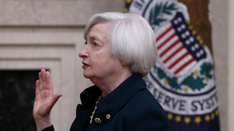 Janet Yellen is sworn in as Federal Reserve Board Chair, in Washington, Monday, Feb. 3, 2014, the first woman to lead the Federal Reserve. (AP Photo/Charles Dharapak)