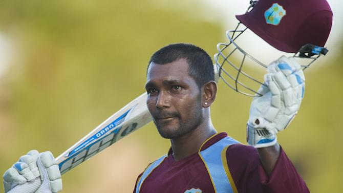 West Indies batman Denesh Ramdin during the third One Day International between the West Indies and Bangladesh at the Warner Park cricket ground in Basseterre, Saint Kitts and Nevis, August 25, 2014
