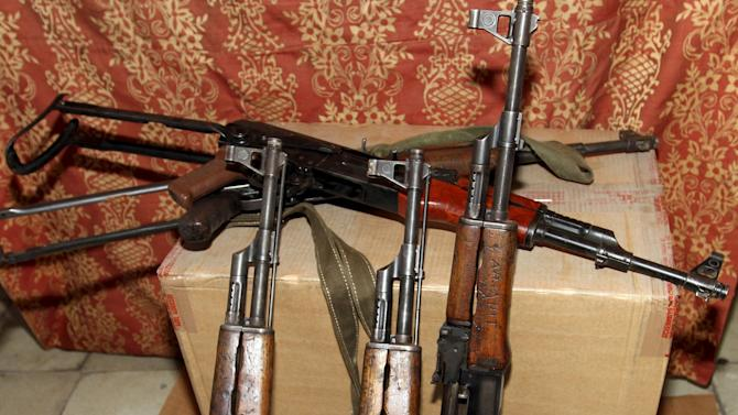 AK-47 Kalashnikov assalt rifles seized by Albanian police from local crime gangs last month is seen in Tirana
