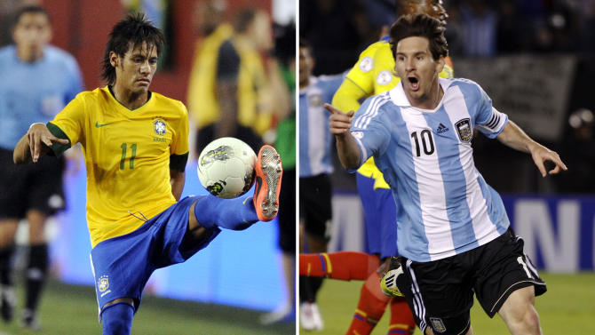 This combination made Tuesday, June 5, 2012, from file photos shows, at left, Brazil's Neymar on May 30 and Argentina's Lionel Messi on June 2. Fans around the world will be focused on the New York metropolitan area as it hosts at least four and maybe five major events, including an exhibition soccer match between two of the game's great rivals, Brazil and Argentina, Saturday, June 9, in East Rutherford, N.J. (AP Photos/Files)