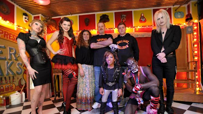 """IMAGE DISTRIBUTED FOR AMC - From left, cast members Brianna Belladonna, Asia Ray, Danielle Ray, Todd Ray, Ali Chapman McCarthy, Phoenix Ray, Creature, and Morgue pose for a photo at a private viewing of AMC's """"Freakshow"""", on Thursday, Jan. 17, 2013 in Venice, Calif. (Photo by John Shearer/Invision for AMC/AP Images)"""
