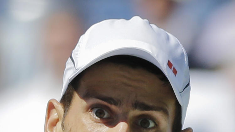 Serbia's Novak Djokovic returns a shot to Spain's David Ferrer during a semifinal match at the 2012 US Open tennis tournament,  Sunday, Sept. 9, 2012, in New York. (AP Photo/Mike Groll)