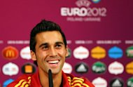In this handout image provided by UEFA, Spanish defender Alvaro Arbeloa takes part in a press conference in Donetsk. Arbeloa says he is psyching himself up &quot;mentally and physically&quot; to face Real Madrid team-mate Cristiano Ronaldo in the Euro 2012 semi-final against Portugal on Wednesday