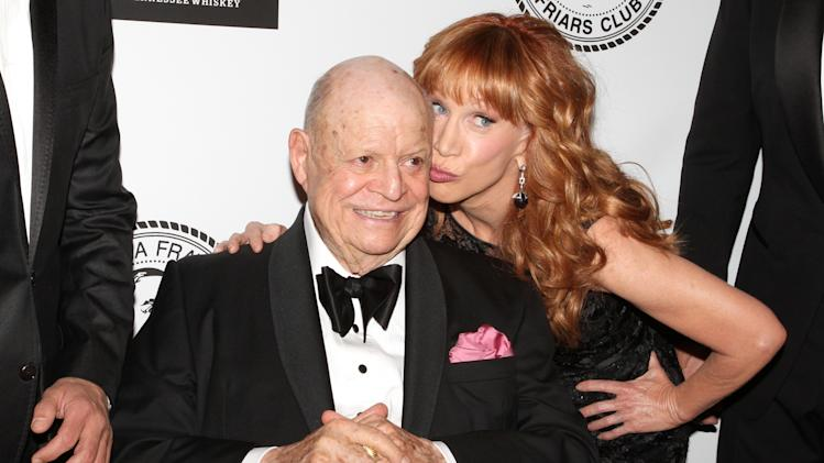 Comedians Don Rickles and Kathy Griffin pose for photos at the Friars Club Roast of Rickles at the Waldorf Astoria on Monday, June 24, 2013 in New York. (Photo by Greg Allen/Invision/AP)