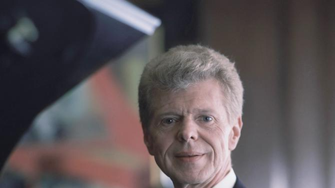 Pianist Van Cliburn poses for a portrait at the Steinway & Sons showroom in New York on March 18, 1994.   Renowned classical pianist Van Cliburn has been diagnosed with advanced bone cancer and is resting comfortably at his Texas home, his publicist said Monday Aug. 27, 2012.     (AP Photo/Wyatt Counts, file) NO SALES