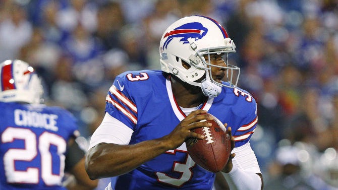 Buffalo Bills' EJ Manuel (3) looks to pass during the second half of an NFL preseason football game against the Minnesota Vikings on Friday, Aug. 16, 2013, in Orchard Park, N.Y. (AP Photo/Bill Wippert)