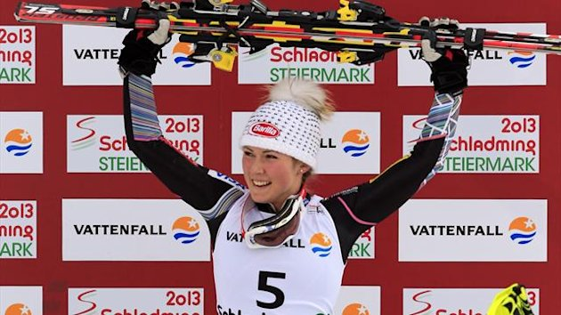 US Mikaela Shiffrin celebrates on the podium after winning the women&#39;s slalom at the 2013 Ski World Championships in Schladming, Austria on February 16, 2013. (AFP)