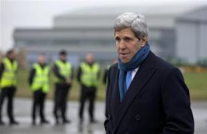 Kerry arrives at London's Stansted Airport