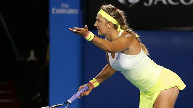 Victoria Azarenka of Belarus questions a line call as she plays Dominika Cibulkova of Slovakia  during their fourth round match at the Australian Open tennis championship in Melbourne, Australia, Monday, Jan. 26, 2015. (AP Photo/Rob Griffith)
