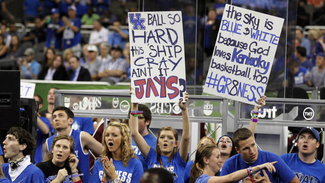 Kentucky fans cheer before the NCAA Final Four college basketball tournament championship game between Kentucky and Kansas, Monday, April 2, 2012, in New Orleans. (AP Photo/The Lexington Herald-Leader, Charles Bertram)