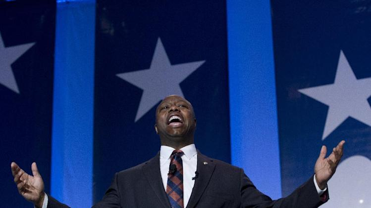 Sen. Tim Scott R-S.C. speaks during the Values Voter Summit, held by the Family Research Council Action, Friday, Oct. 11, 2013, in Washington. (AP Photo/Jose Luis Magana)