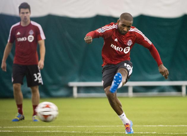 Toronto FC's Jermain Defoe takes part in a drill at practice in Toronto on Monday, March 10, 2014. The MLS club opens its season Saturday in Seattle