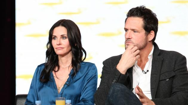 Courteney Cox and Josh Hopkins of 'Cougar Town' speaks onstage during Turner Broadcasting's 2013 TCA Winter Tour at Langham Hotel, Pasadena, Calif. on January 4, 2013 -- Getty Images
