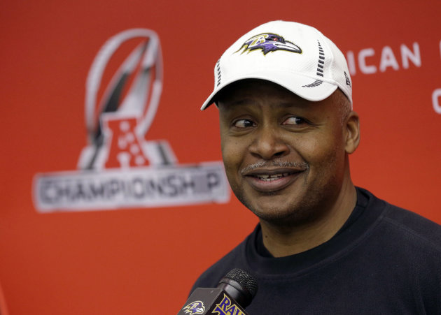<p>               Baltimore Ravens offensive coordinator Jim Caldwell speaks during a news conference at the team's practice facility in Owings Mills, Md., Thursday, Jan. 17, 2013. The Ravens are scheduled to face the New England Patriots in the AFC Championship on Sunday. (AP Photo/Patrick Semansky)