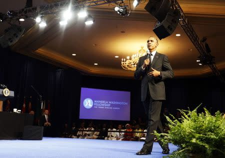 U.S. President Obama participates at the Summit of the Washington Fellowship for Young African Leaders in Washington