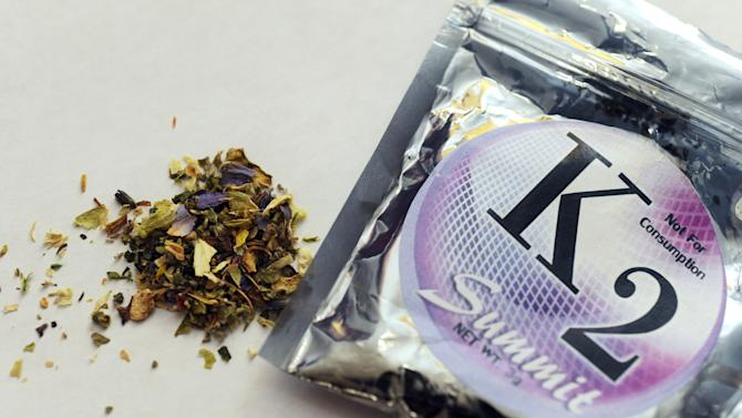 FILE - This Feb. 15, 2010, file photo shows a package of K2, a concoction of dried herbs sprayed with chemicals. The U.N. drug control agency on Wednesday June 26, 2013, sounded the alarm on the spread of designer drugs, which are sold openly and legally and sometimes result in deadly highs, while reporting that global drug use generally remains stable. (AP Photo/Kelley McCall, File)