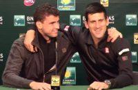 Novak Djokovic and Grigor Dimitrov share the microphone in the press room on Sunday, March 9, 2014.