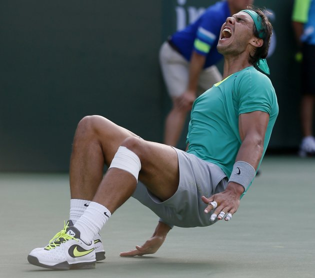 Nadal celebrates defeating Del Potro of Argentina in men's singles final match at BNP Paribas Open ATP  tennis tournament in Indian Wells
