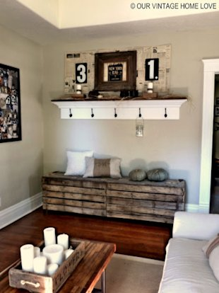 Build a bench for your entryway out of old pallets