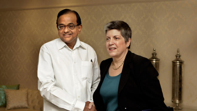 Indian Home Minister P Chidambaram, left, shakes hands with U.S. Secretary of Homeland Security Janet Napolitano, prior to a delegation level meeting in New Delhi, India, Friday, May 27, 2011. Napolitano is on a four-day visit to India to increase cooperation in counter terrorism, intelligence sharing and cyber security between the two countries.  (AP Photo/Manish Swarup)
