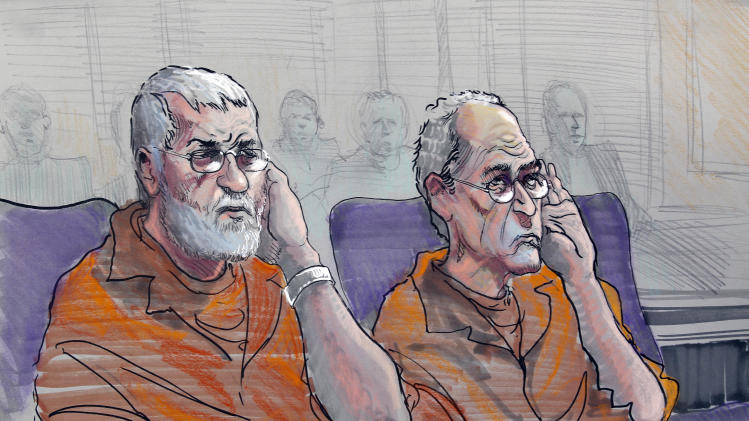 Dan Roberts, left, and Frederick Thomas are shown in this artist rendering as he appear in a federal courtroom in Gainesville, Ga., Wednesday, Nov. 2, 2011. The two and two other men are accused of planning a terror attack.  (AP Photo/Richard Miller)