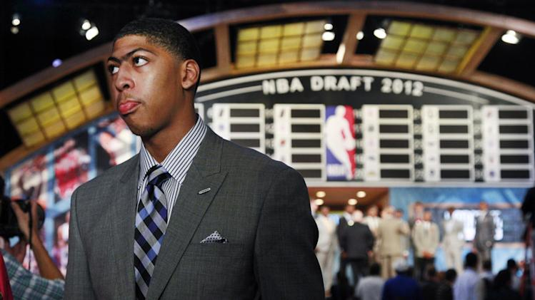 Kentucky's Anthony Davis listens to a question before the NBA basketball draft, Thursday, June, 28, 2012, in Newark, N.J. (AP Photo/Mel Evans)