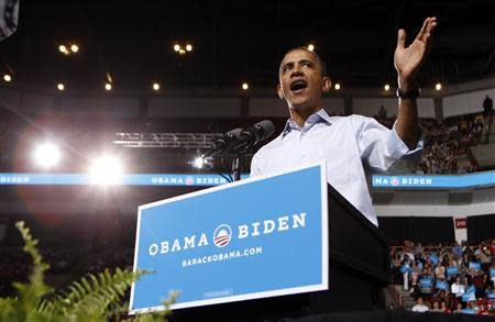 U.S. President Barack Obama speaks at a campaign rally at The Ohio State University in Columbus