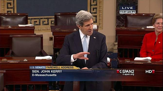 This handout frame grab image provided by C-SPAN2 shows Sen. John Kerry, D-Mass. gesturing as he gives his last speech as senator, Wednesday, Jan. 30, 2013, on the floor of the Senate on Capitol Hill in Washington. Kerry's last day as senator is Friday as he prepares to become the nation's next secretary of state. Sen. Elizabeth Warren, D-Mass. is at right. (AP Photo/CSPAN2)