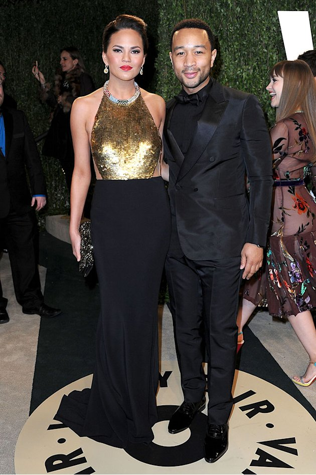 2013 Vanity Fair Oscar Party Hosted By Graydon Carter - Arrivals: Chrissy Teigen and John Legend