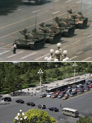 In this combination of photos, a file photo taken June 5, 1989, top, shows a lone Chinese man standing to block a line of tanks heading east on Beijing's Changan Blvd. near Tiananmen Square, and in a May 27, 2014 photo of the same spot, bottom, almost 25 years later, a convoy of cars drive across Beijing's Changan Blvd. near Tiananmen Square. A quarter century after the Communist Party's attack on demonstrations centered on Tiananmen Square on June 4, 1989, the ruling party prohibits public discussion and 1989 is banned from textbooks and Chinese websites. (AP Photo/Jeff Widener, top, Helene Franchineau, bottom)