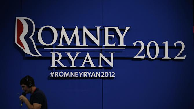 Romney-Ryan campaign sign is displayed inside of the Tampa Bay  Times Forum at the Republican National Convention in Tampa, Fla., on Sunday, Aug. 26, 2012. (AP Photo/Jae C. Hong)
