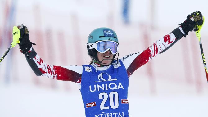 Thalmann from Austria reacts after her second run of the World Cup Women's Slalom race in Kuehtai ski resort
