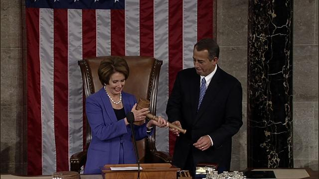 Pelosi introduces newly reelected Speaker Boehner