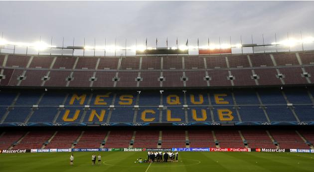 Players from Manchester City attend a training session at Camp Nou stadium in Barcelona