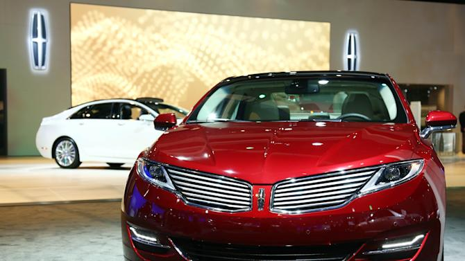 IMAGE DISTRIBUTED FOR LINCOLN - The All-New 2013 Lincoln MKZ and MKZ Hybrid display is seen during the Los Angeles Auto Show press day, Thursday, Nov. 29, 2012 in Los Angeles. (Photo by Matt Sayles/Invision for Lincoln/AP Images)