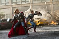 Chris Hemsworth and Chris Evans in a scene from 'The Avengers' -- Marvel