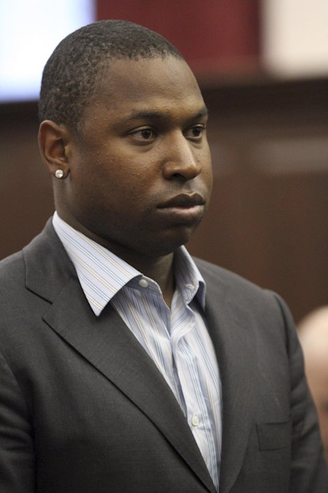 Detroit Tigers left fielder Delmon Young is arraigned in Manhattan criminal court,  Friday, April 27, 2012, in New York. Police say Young got into a fight with a group of men early Friday outside the