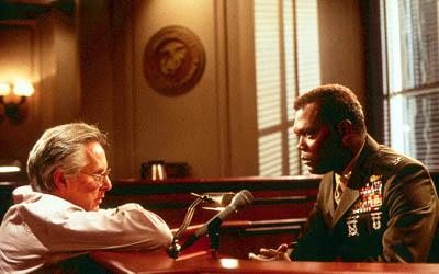 Director William Friedkin and Samuel L. Jackson on the set of Paramount's Rules Of Engagement