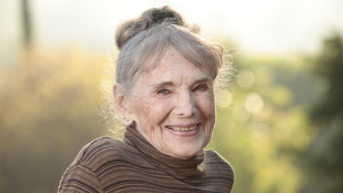 """This film image released by Music Box Films shows Besedka Johnson, in a promotional portrait for the film """"Starlet.""""  Johnson, who became an actress at age 85 and won praise for last year's movie """"Starlet,"""" died on April 4 at Glendale Memorial Hospital of complications following surgery for a bacterial infection, her son, Jim Johnson, told the Los Angeles Times. Besedka Johnson played the cranky widow Sadie, who befriends a character played by Dree Hemingway in last year's movie. It was her only role. She was 87. (AP Photo/Music Box Films, Augusta Quirk)"""
