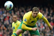 Norwich City&#39;s English striker Grant Holt (right) heads the ball during an English Premier League football match. The club&#39;s chief executive David McNally plans to target European bosses in his search for a right man to replace manager Paul Lambert