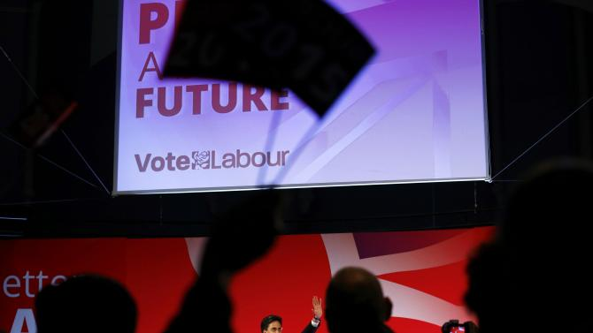 Britain's Labour Party's leader Ed Miliband's waves at his final campaign event in Leeds, northern England