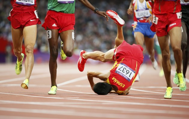 Spain's Alvaro Rodriguez falls during the men's 1500m round 1 event at the London 2012 Olympic Games in the Olympic Stadium