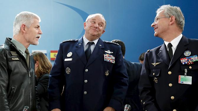 Breedlove speaks with Pavel and Mercier at the start of the NATO Ministerial Meeting on the South, Partnerships, and Defense Capacity at NATO Headquarters in Brussels